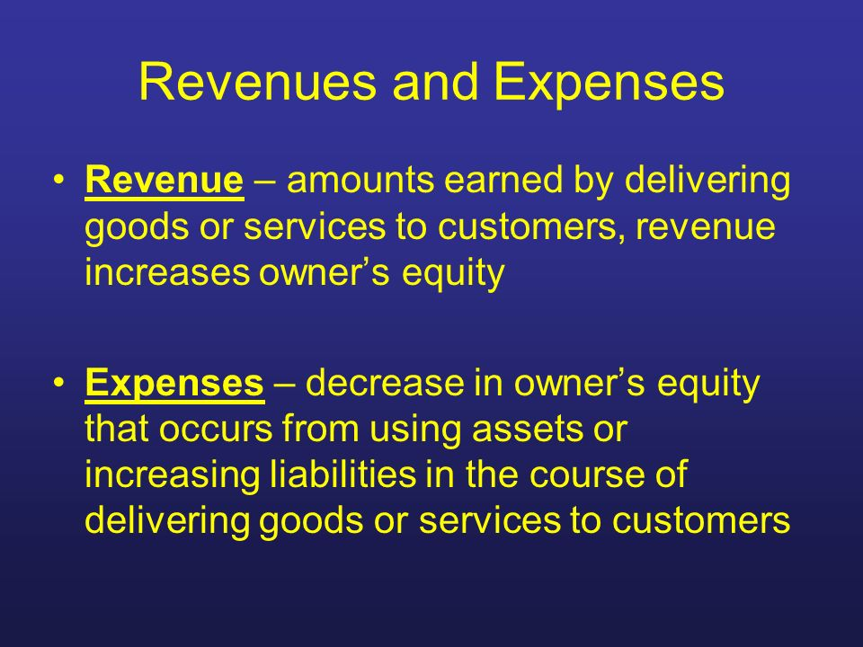 Revenues and Expenses Revenue – amounts earned by delivering goods or services to customers, revenue increases owner's equity.