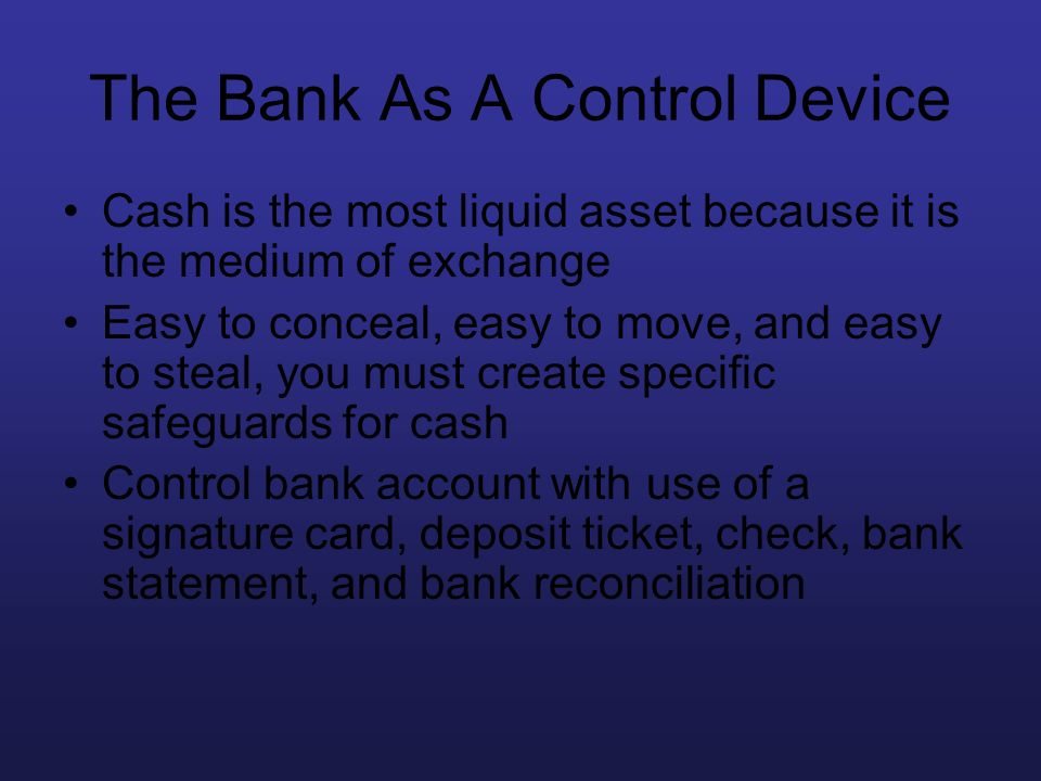 The Bank As A Control Device