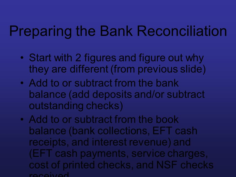 Preparing the Bank Reconciliation