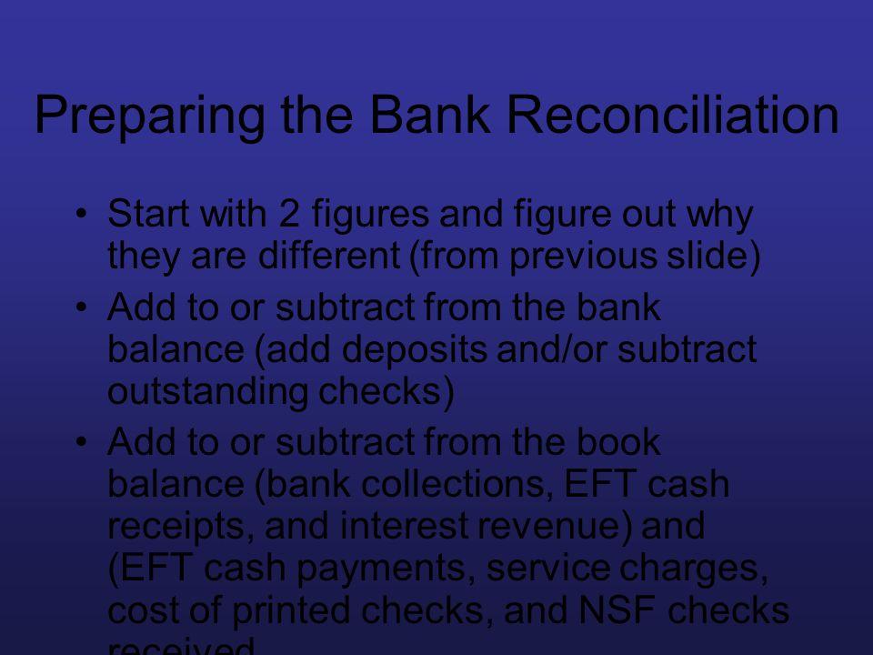 Preparing the Bank Reconciliation