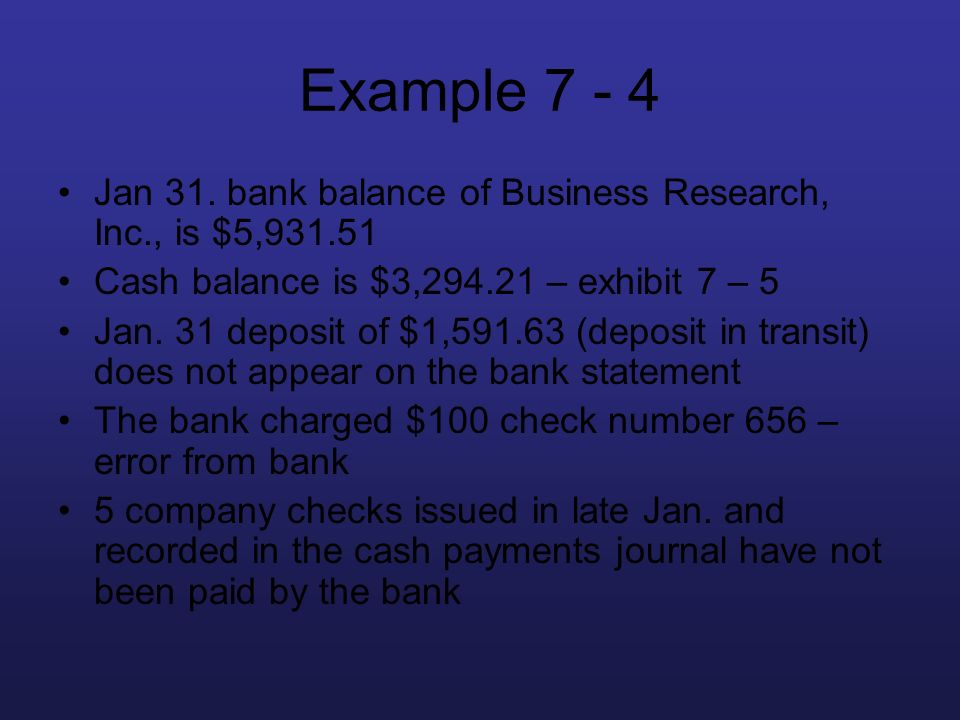 Example 7 - 4 Jan 31. bank balance of Business Research, Inc., is $5,931.51. Cash balance is $3,294.21 – exhibit 7 – 5.