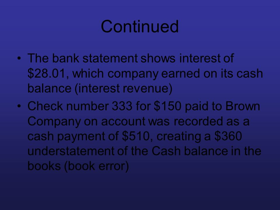 Continued The bank statement shows interest of $28.01, which company earned on its cash balance (interest revenue)