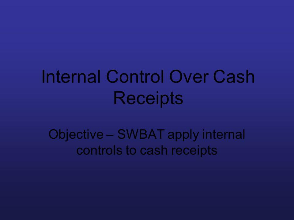 Internal Control Over Cash Receipts