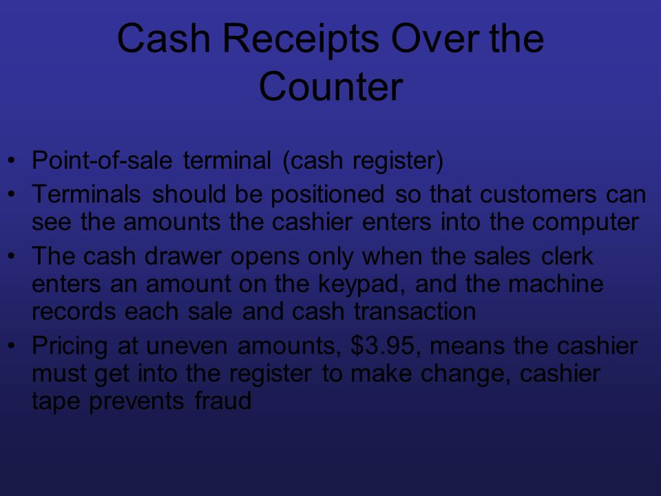 Cash Receipts Over the Counter