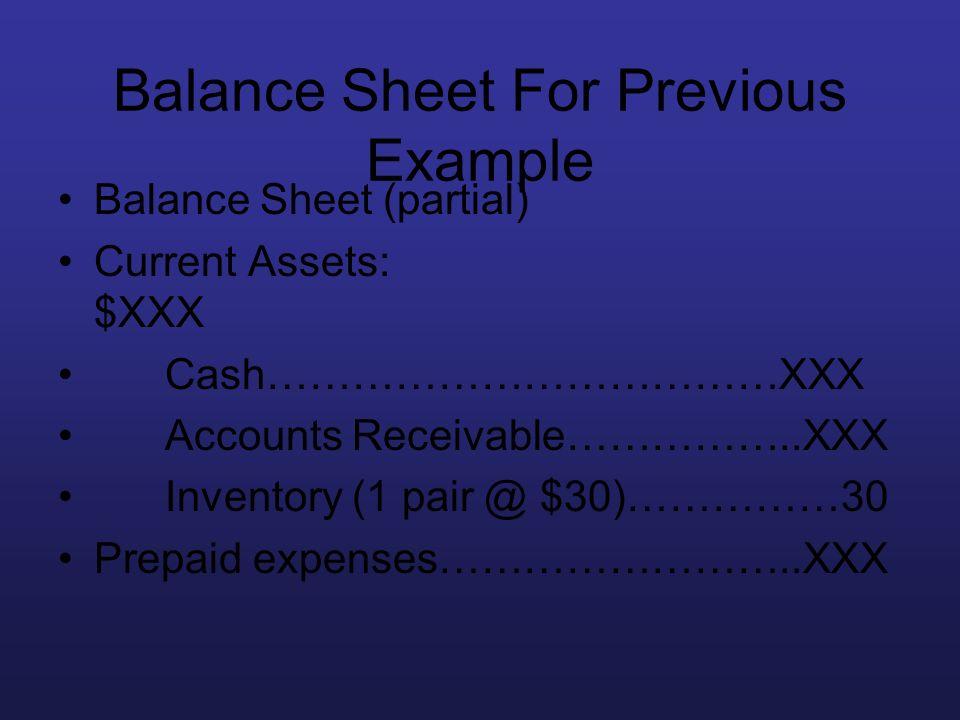 Balance Sheet For Previous Example