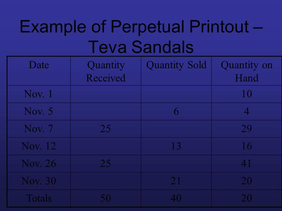 Example of Perpetual Printout – Teva Sandals