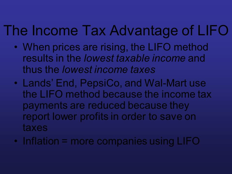 The Income Tax Advantage of LIFO