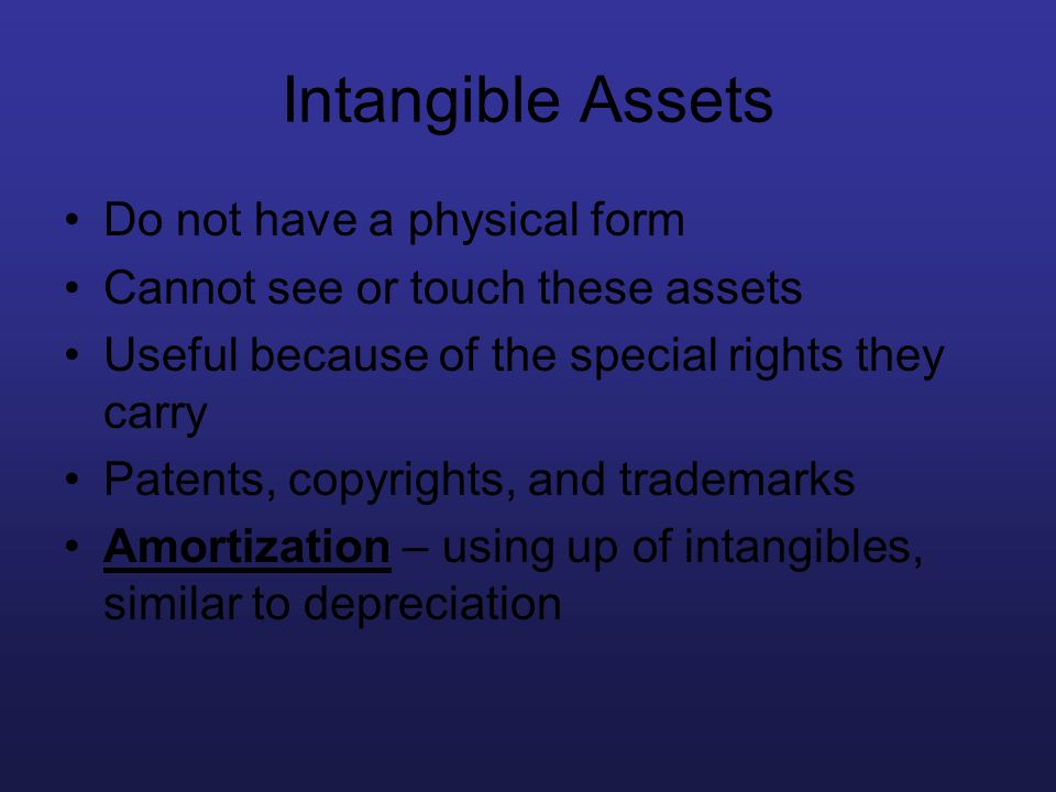 Intangible Assets Do not have a physical form