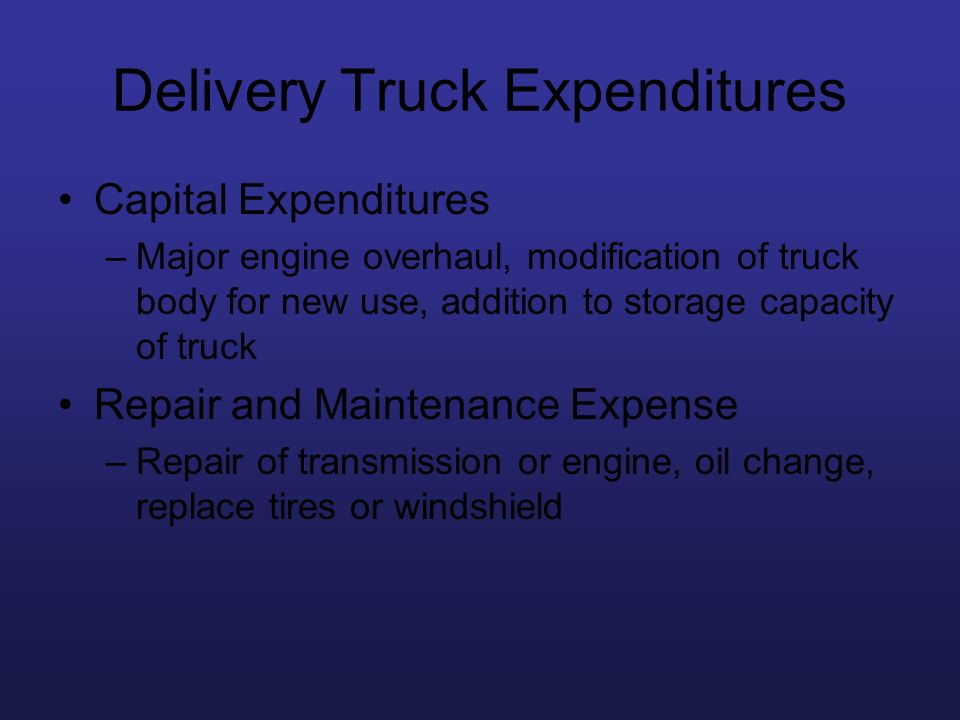 Delivery Truck Expenditures