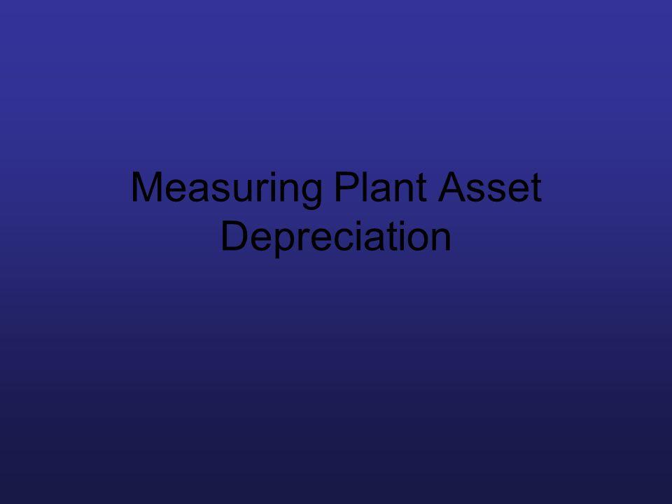 Measuring Plant Asset Depreciation