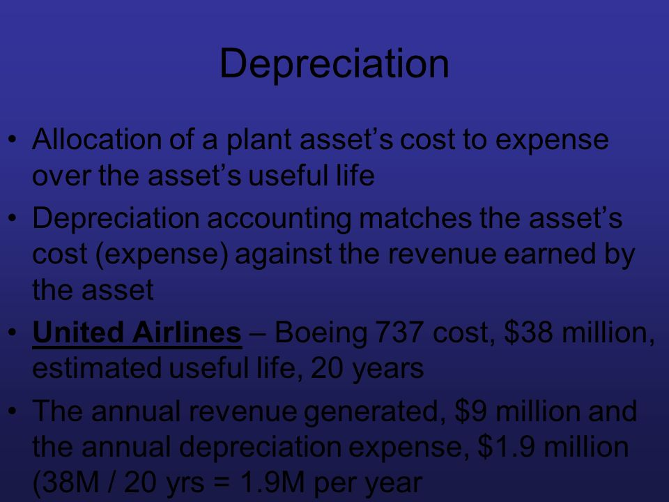 Depreciation Allocation of a plant asset's cost to expense over the asset's useful life.