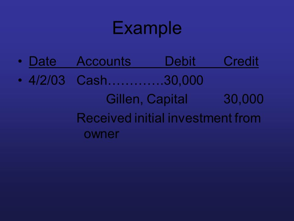 Example Date Accounts Debit Credit 4/2/03 Cash………….30,000