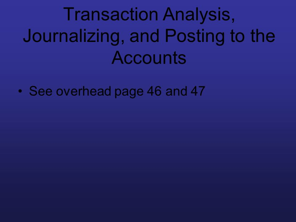 Transaction Analysis, Journalizing, and Posting to the Accounts