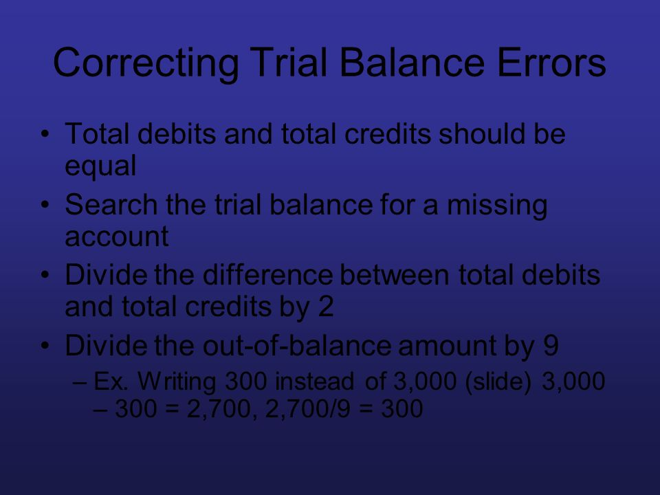 Correcting Trial Balance Errors