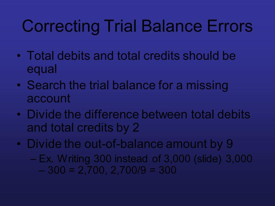 Correcting Trial Balance Errors