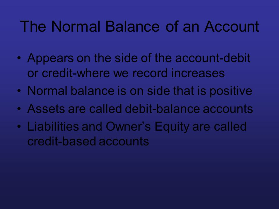 The Normal Balance of an Account