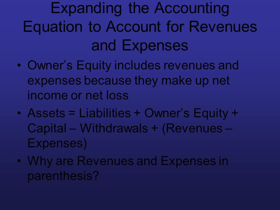 Expanding the Accounting Equation to Account for Revenues and Expenses