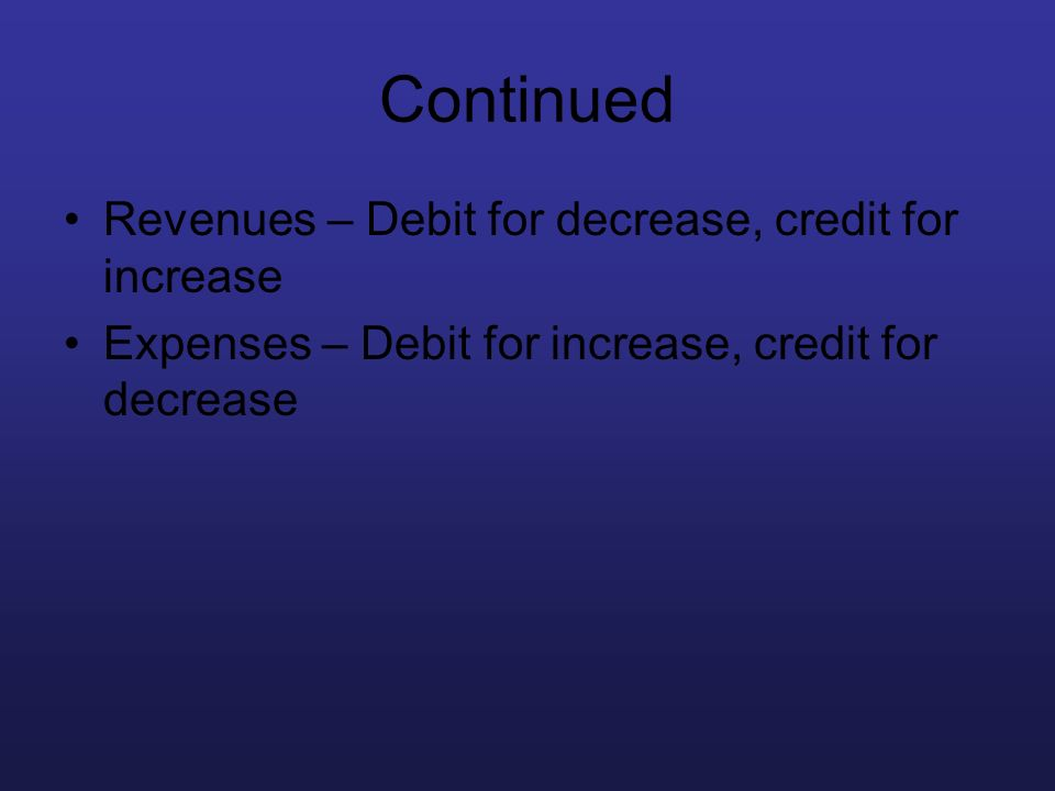 Continued Revenues – Debit for decrease, credit for increase