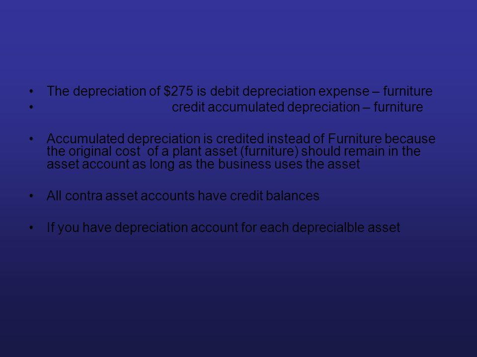 The depreciation of $275 is debit depreciation expense – furniture