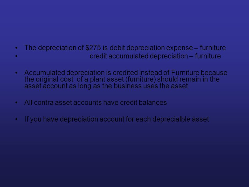 The depreciation of $275 is debit depreciation expense – furniture