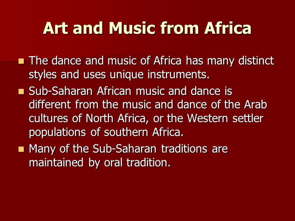 Art and Music from Africa