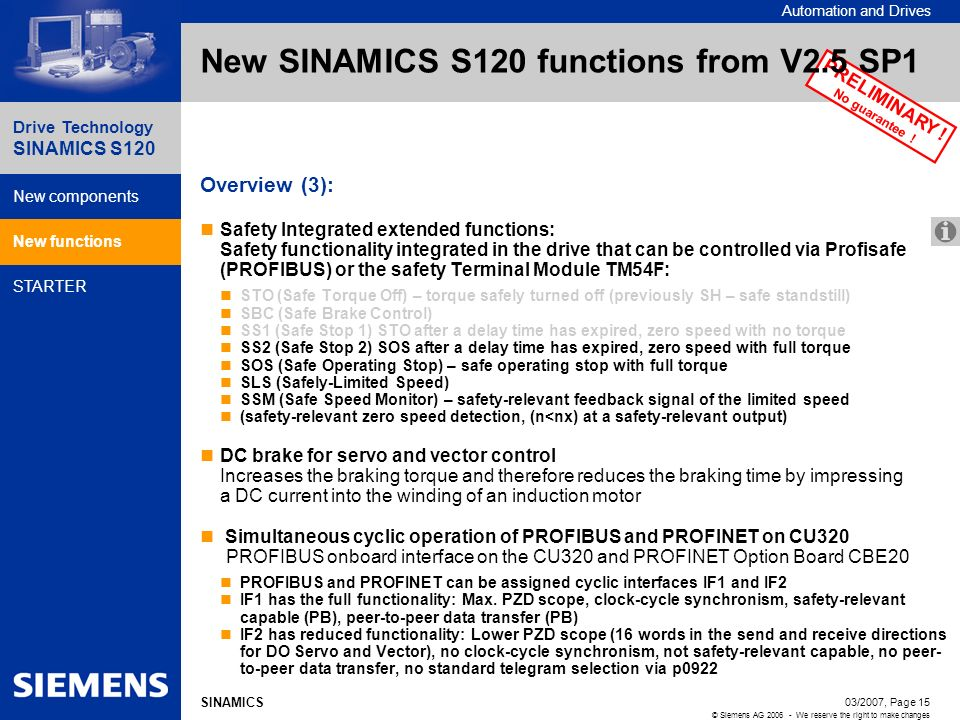 New SINAMICS S120 functions from V2.5 SP1