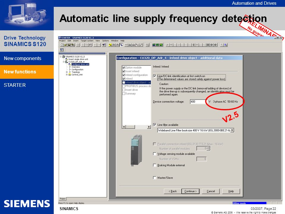 Automatic line supply frequency detection