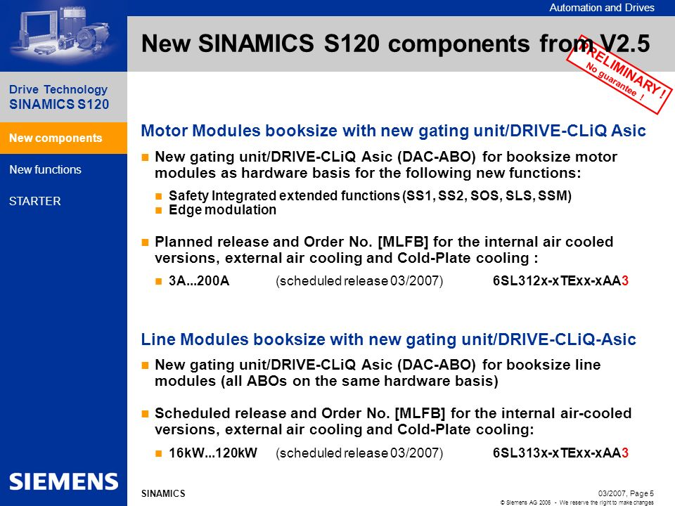 New SINAMICS S120 components from V2.5
