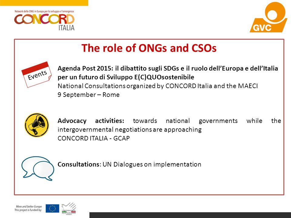 The role of ONGs and CSOs