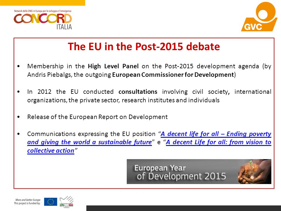The EU in the Post-2015 debate