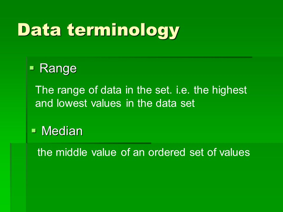 Data terminology Range Median