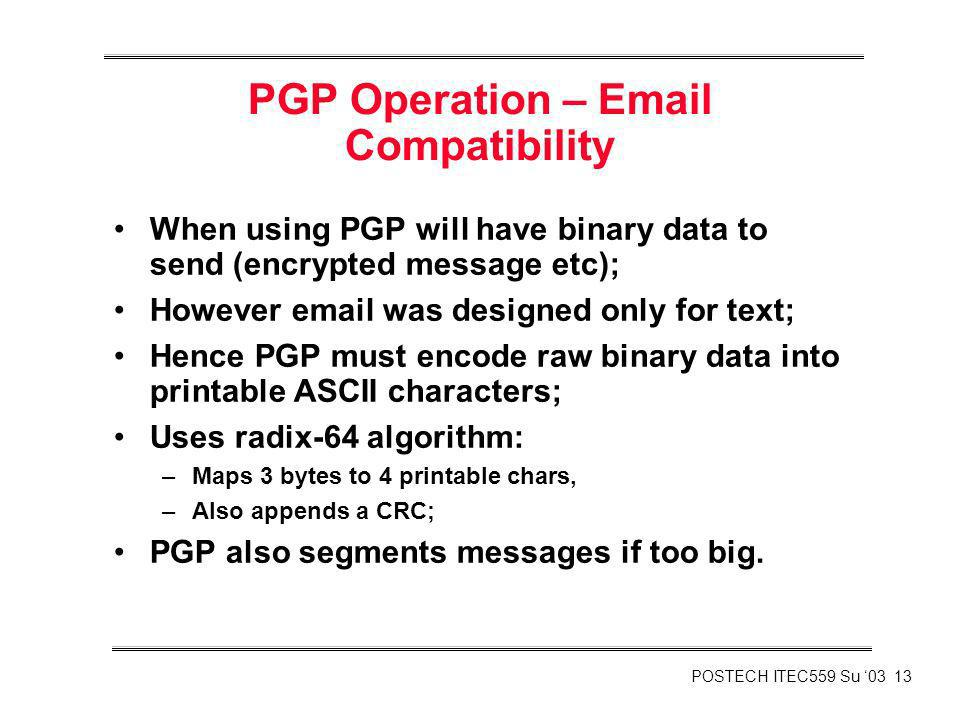PGP Operation –  Compatibility