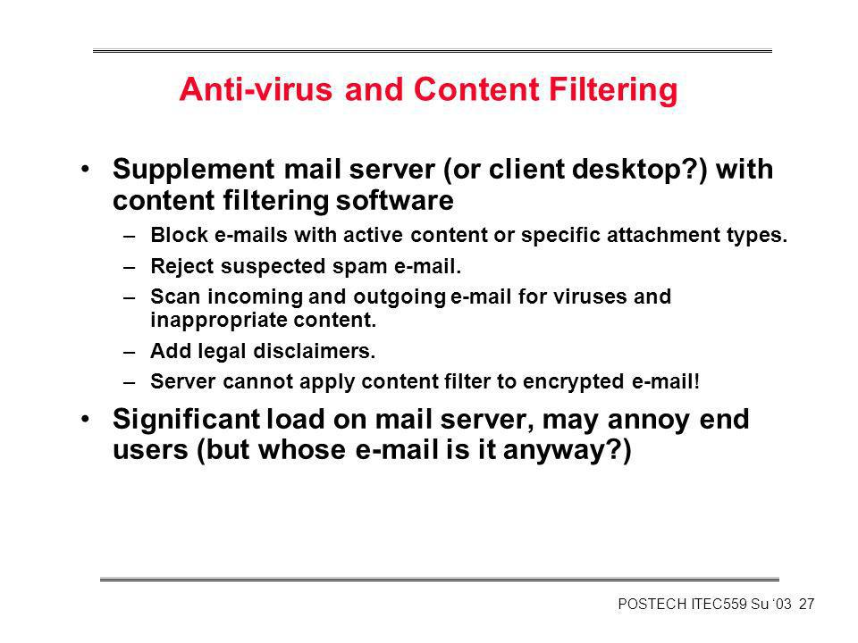 Anti-virus and Content Filtering