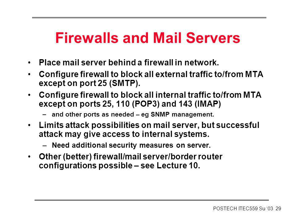 Firewalls and Mail Servers