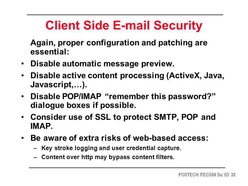 Client Side E-mail Security