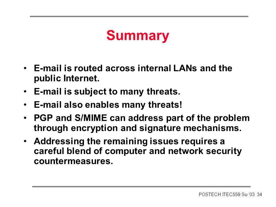 Summary E-mail is routed across internal LANs and the public Internet.