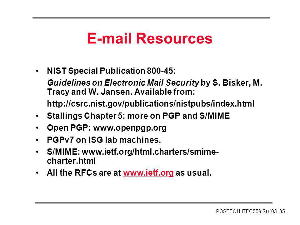 E-mail Resources NIST Special Publication 800-45: