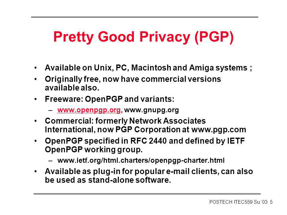Pretty Good Privacy (PGP)