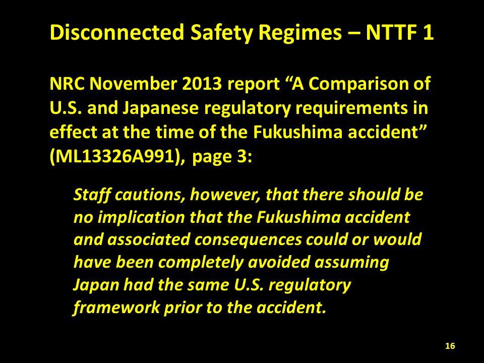 Disconnected Safety Regimes – NTTF 1