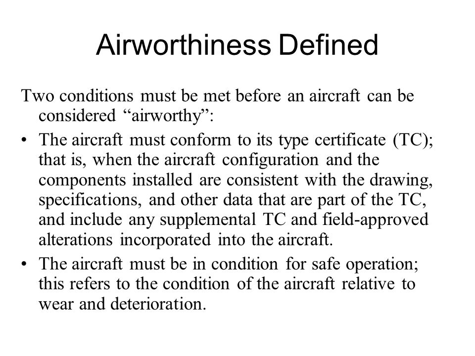 Airworthiness Defined
