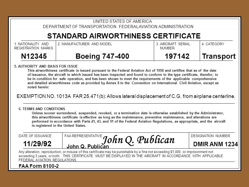 John Q. Publican STANDARD AIRWORTHINESS CERTIFICATE N12345