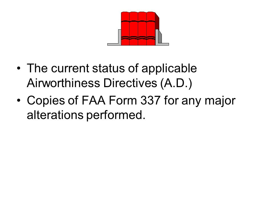 The current status of applicable Airworthiness Directives (A.D.)