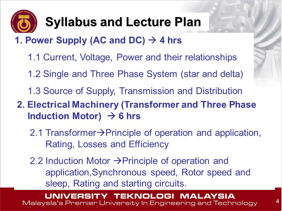 Syllabus and Lecture Plan