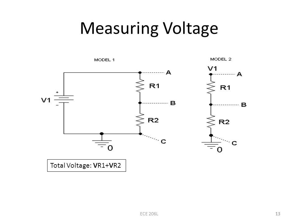 Measuring Voltage Total Voltage: VR1+VR2 ECE 206L 13
