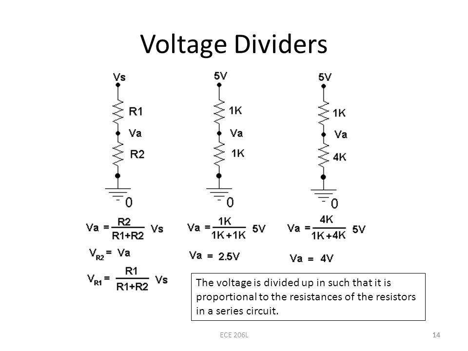 Voltage Dividers The voltage is divided up in such that it is proportional to the resistances of the resistors in a series circuit.