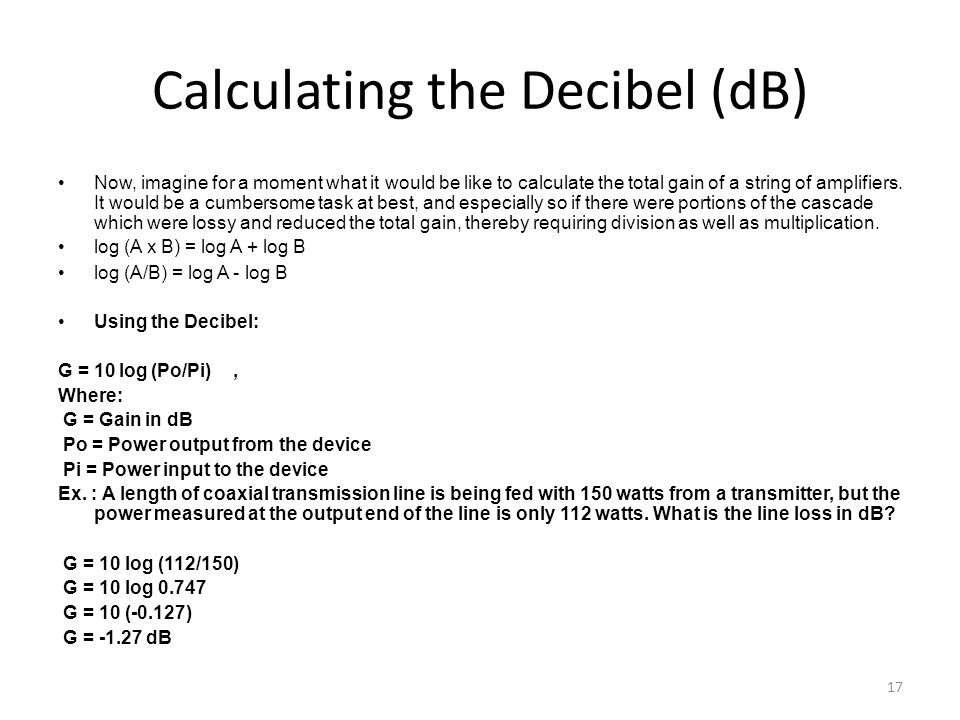 Calculating the Decibel (dB)