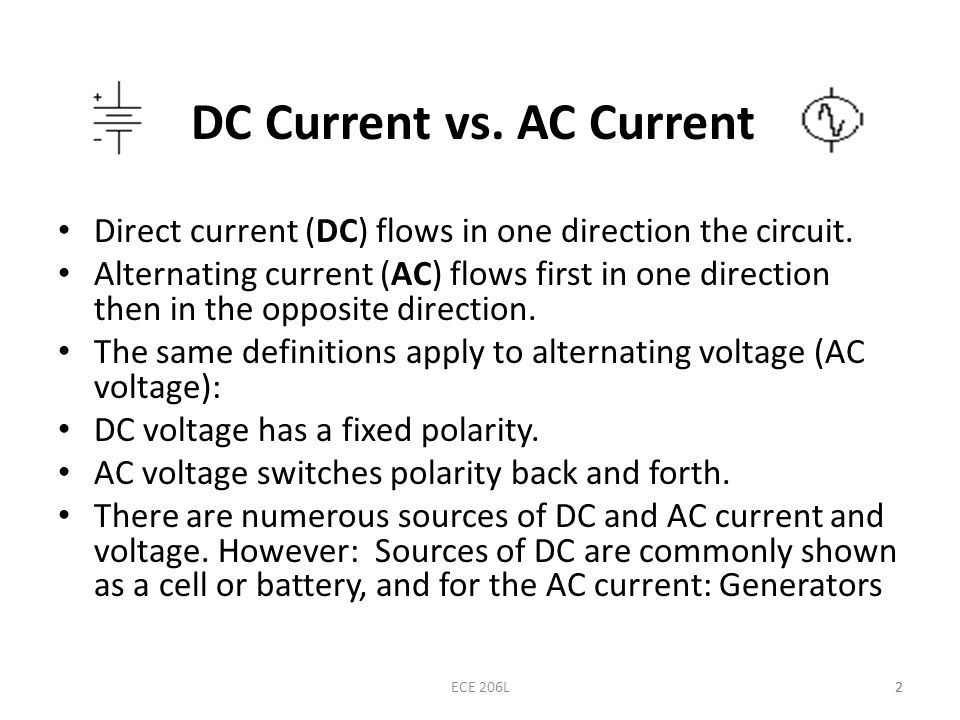 alternating current vs direct current. 2 dc current vs. ac alternating vs direct t