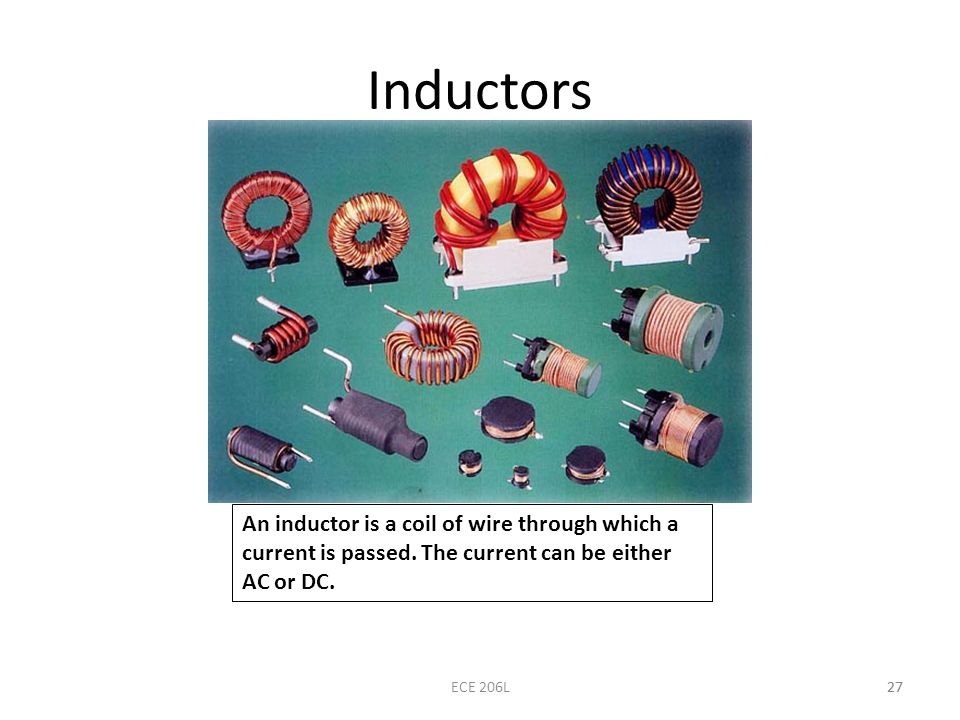 Inductors An inductor is a coil of wire through which a current is passed. The current can be either AC or DC.