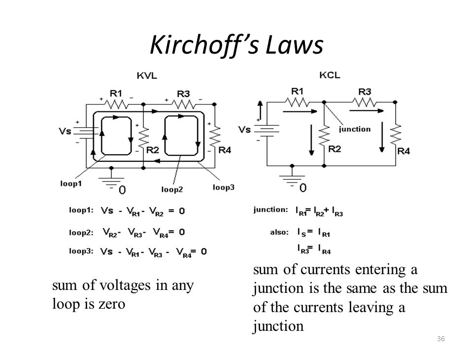Kirchoff's Laws sum of currents entering a junction is the same as the sum of the currents leaving a junction.