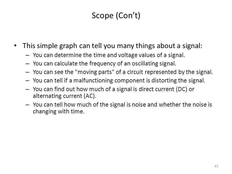 Scope (Con't) This simple graph can tell you many things about a signal: You can determine the time and voltage values of a signal.
